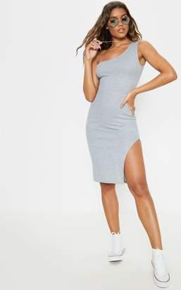 PrettyLittleThing Grey Ribbed One Shoulder Midi Dress