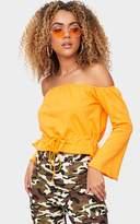 PrettyLittleThing Orange Bardot Tie Waist Sweater