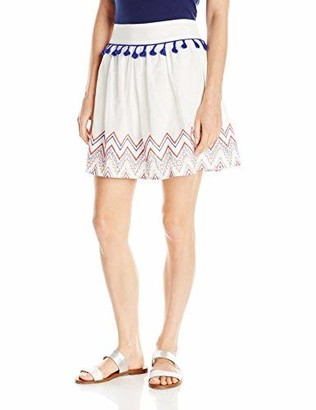 Love, Fire love FiRE Women's Tassel Trim Embroidered Hem Skirt