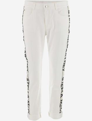 Stella McCartney White Cotton Denim Women's Jeans w/Side Signature Bands