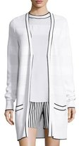 St. John Pointelle-Knit V-Neck Long Cardigan, Bianco/Caviar