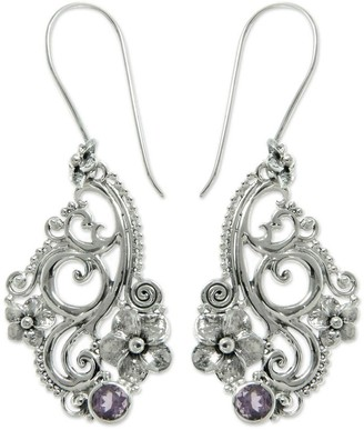 Novica Sterling Silver 'Frangipani Arabesques' Amethyst Earrings