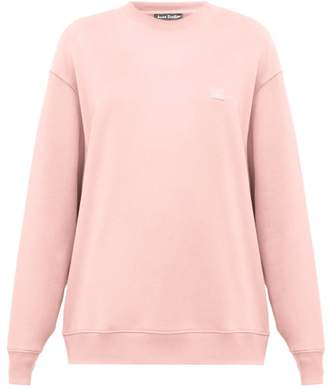 Acne Studios Forbra Oversized Face-patch Cotton Sweatshirt - Womens - Light Pink