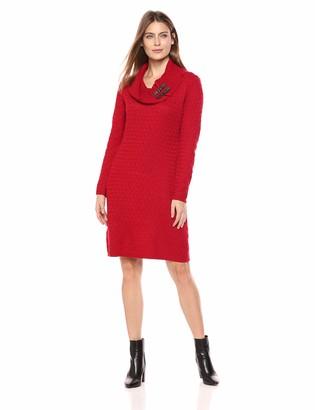 Sandra Darren Women's 1 PC Long Sleeve Cowl Neck Sheath Sweater Dress