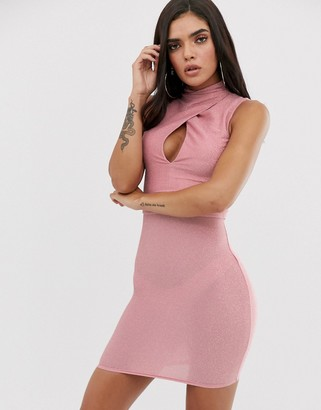 The Girlcode high neck keyhole mini bodycon dress in pink metallic