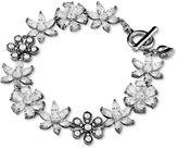 Carolee Bracelet, Silver-Tone Crystal Flower Toggle Bracelet