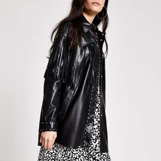 River Island Black faux leather fringe studded jacket