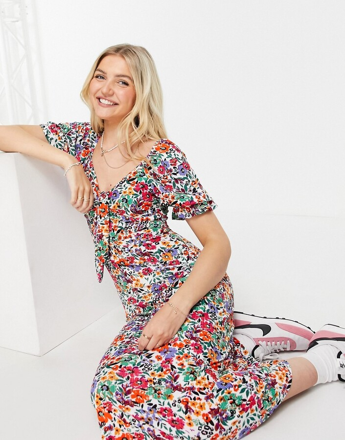Thumbnail for your product : Qed London midiaxi dress with 3/4 sleeves in multi floral print
