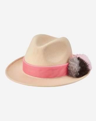 Express San Diego Hat Company Wool Felt Fedora With Faux Fur Pom And Velvet Trim