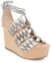 Loeffler Randall Lace-Up Wood Clog Wedge Heels