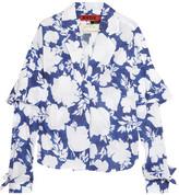 Ronald Van Der Kemp - Floral-print Cotton-voile Blouse - Navy