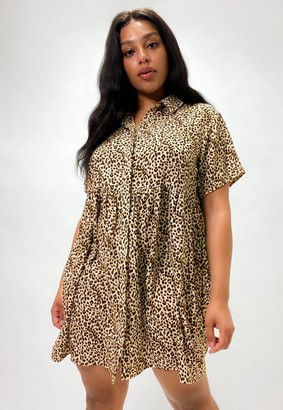 Missguided Plus Size Stone Leopard Print Shirt Smock Dress
