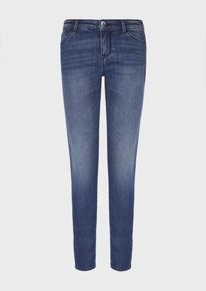 Emporio Armani J23 Push-Up Jeans In Worn-Wash Denim