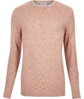 River Island MensLight red marl crew neck long sleeve sweater