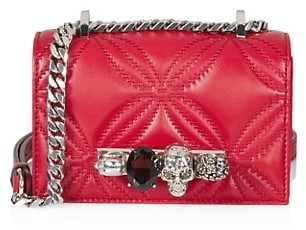Alexander McQueen The Mini Quilted Jewelled Leather Satchel