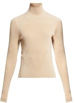 Alexandre Vauthier High-neck Ribbed Chenille Sweater - Womens - Beige
