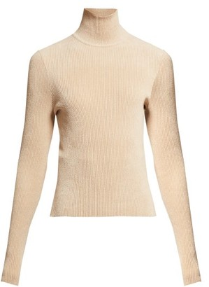 Alexandre Vauthier High-neck Ribbed Chenille Sweater - Beige