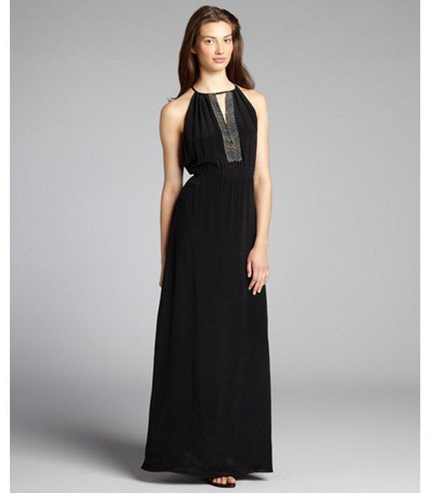 Chelsea Flower black silk crêpe de chine beaded neck maxi dress