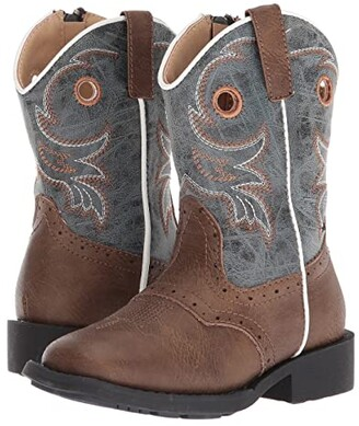 Roper Daniel (Toddler) (Brown Faux Leather Vamp/Blue Shaft) Cowboy Boots