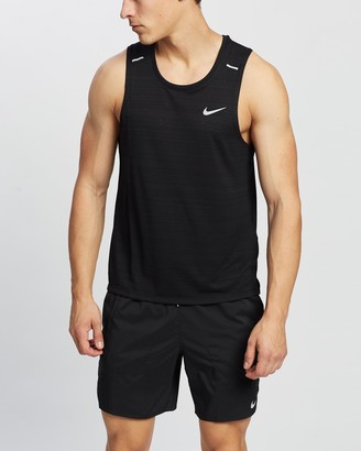 Nike Men's Black Muscle Tops - Miler Running Tank - Size M at The Iconic