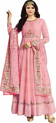 Lady Dwiza Indian Readymade Embroidered Dola Art Silk Wedding Party Wear Anarkali Salwar Suit for Women (12