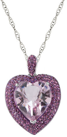 Lord & Taylor Sterling Silver & Crystal Heart Pendant Necklace