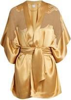 Carine Gilson Lace-insert short silk-satin kimono