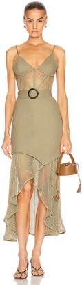 PatBO Mesh Linen Bustier Dress in Vintage Khaki | FWRD