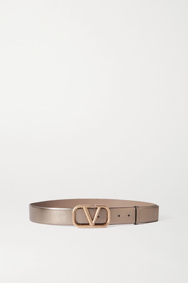 Valentino Garavani Metallic Leather Belt - Gray