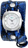 La Mer Women's 'La Mer Collections Women's Electric Blue Snake Silver Odyssey Wrap Watch' Quartz Two Tone Leather Casual Watch (Model: LMODY2001)