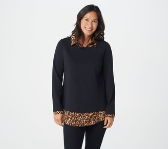 Isaac Mizrahi Live! French Terry & Woven Leopard Layered Top