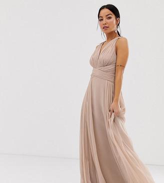 Asos DESIGN Petite Bridesmaid ruched bodice drape maxi dress with wrap waist-Pink