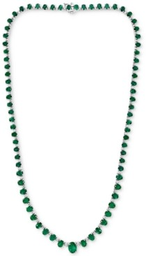 "Effy Emerald (18-1/2 ct. t.w.) & Diamond (1-1/3 ct. t.w.) 16"" Statement Necklace in 14k White Gold"