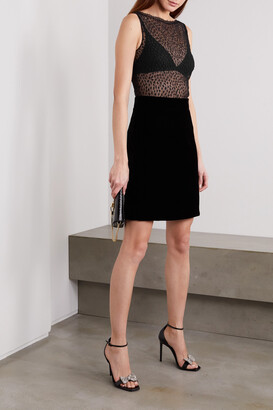 Givenchy - Cotton-blend Lace And Velvet Mini Dress - Black
