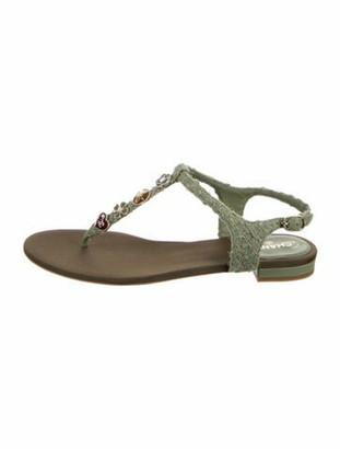 Chanel T-Strap Sandals Green