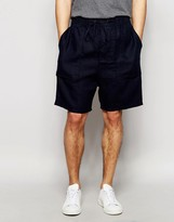 Asos Slim Shorts In Textured Fabric In Navy