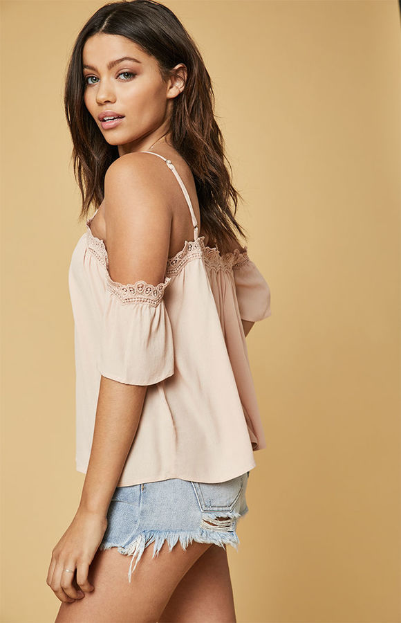 Lucca Couture Cold Shoulder Lace Top
