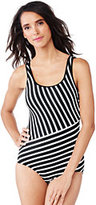 Lands' End Women's Tugless One Piece Swimsuit Lined-Black Dot