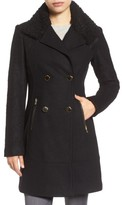 GUESS Women's Boucle Sleeve Wool Blend Military Coat