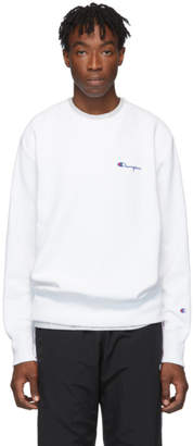Champion Reverse Weave White Small Script Sweatshirt