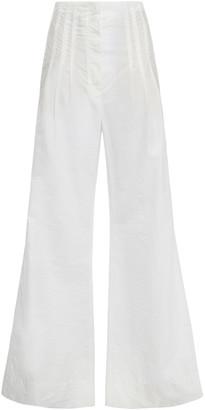 Brunello Cucinelli Crinkled Cotton-poplin Wide-leg Pants