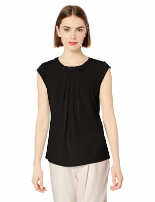 Karl Lagerfeld Paris Women's Short Sleeve Shirt with Bow Detail