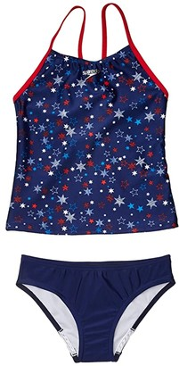 Speedo Kids Print Tankini Two-Piece (Big Kids) (Red/White/Blue) Girl's Swimwear Sets