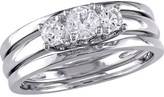Women's Amour SHB000798 White Sapphire 3-Stone 3-Bridal Ring Set