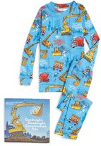 Boy's Books To Bed Goodnight Construction Site Fitted Two-Piece Pajamas & Book Set