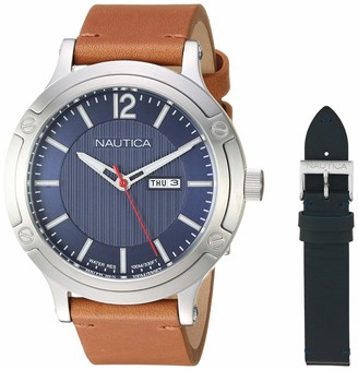 Nautica Men's Porthole Slim Stainless Steel Japanese-Quartz Watch with Leather Strap Brown 20.5 (Model: NAPPSP901)