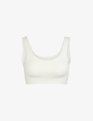 SKIMS Ladies Cream Denim Kim Kardashian West Strtch Rib Scoop Bra, Size: XXXXL/XXXXXL