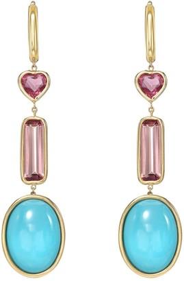 Mocola Pink Tourmaline & Sleeping Beauty Turquoise Huggie Dangle Earring