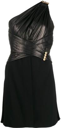 Versace Asymmetric Sleeves Short Dress