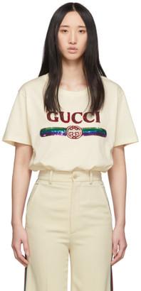 Gucci Beige Sequin Vintage Logo T-Shirt
